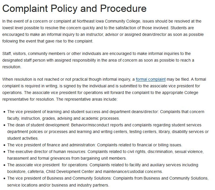 Complaints Complaint Policy And Procedures Mycampus